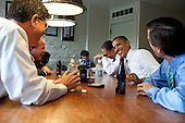 United States President Barack Obama has lunch at Good Stuff Eatery in Washington, D.C., with staff members who worked on the debt negotiations, August 3, 2011. From left are: Office of Management and Budget Director Jack Lew; National Economic Council Director Gene Sperling; Rob Nabors, Assistant to the President for Legislative Affairs; and Bruce Reed, Chief of Staff to the Vice President. .Mandatory Credit: Pete Souza - White House via CNP