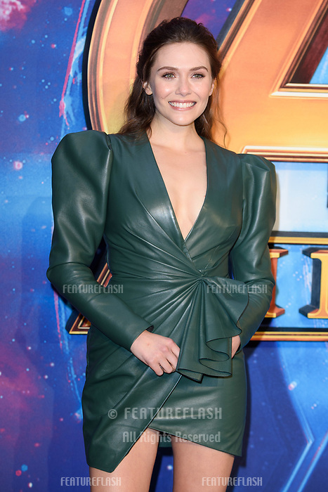 Elizabeth Olsen arriving for the &quot;Avengers: Infinity War&quot; fan event at the London Television Studios, London, UK. <br /> 08 April  2018<br /> Picture: Steve Vas/Featureflash/SilverHub 0208 004 5359 sales@silverhubmedia.com