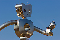 The Traveling Man, one of three stainless steel sculptures in the Deep Ellum area of Dallas, Texas.