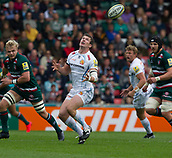 30th September 2017, Welford Road, Leicester, England; Aviva Premiership rugby, Leicester Tigers versus Exeter Chiefs;  Ian Whitten makes tracking the ball took difficult
