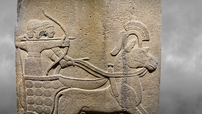 Hittite relief sculpted orthostat stone panel of Long Wall. Close up of Chariot. Karkamıs, (Kargamıs), Carchemish (Karkemish). Anatolian Civilisations Museum.