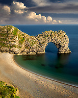 Beach and arch at  Durdle Door. Dorset. Jurassic Coast, England