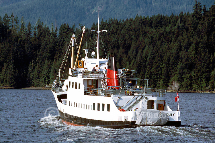 MV Frances Barkley (built 1958), a Passenger and Cargo Vessel traveling in Alberni Inlet to Barkley Sound from Port Alberni, BC, Vancouver Island, British Columbia, Canada