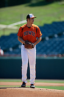 Bowie Baysox pitcher Cody Sedlock (59) during an Eastern League game against the Binghamton Rumble Ponies on August 21, 2019 at Prince George's Stadium in Bowie, Maryland.  Bowie defeated Binghamton 7-6 in ten innings.  (Mike Janes/Four Seam Images)