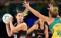 09.10.2016 Silver Ferns Gina Crampton in action during the Silver Ferns v Australia netball test match played at Qudos Bank Arena in Sydney. Mandatory Photo Credit ©Michael Bradley.