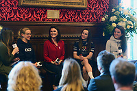 Picture by SWpix.com - 07/03/2018 - Cycling - 2018 OVO Energy Women's Tour Launch - Westminster, London, England -<br /> Emma Pooley, Orla Chennaoui Elinor Barker Lizzie Deignan ,