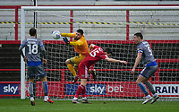 Lincoln City's Josh Vickers makes a save under pressure from Accrington Stanley's Bobby Grant<br /> <br /> Photographer Andrew Vaughan/CameraSport<br /> <br /> The EFL Sky Bet League One - Accrington Stanley v Lincoln City - Saturday 15th February 2020 - Crown Ground - Accrington<br /> <br /> World Copyright © 2020 CameraSport. All rights reserved. 43 Linden Ave. Countesthorpe. Leicester. England. LE8 5PG - Tel: +44 (0) 116 277 4147 - admin@camerasport.com - www.camerasport.com