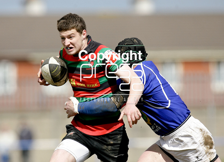 21.04.12<br /> Action from Fitzgerald Park Limerick, Thomond V Highfield. Highfield's Dara O'Keeffe in action against Thomond's Niall McNamara. Picture: Alan Place/Press 22.