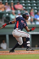 Second baseman Kevin Josephina (24) of the Rome Braves bats in a game against the Greenville Drive on Wednesday, May 31, 2017, at Fluor Field at the West End in Greenville, South Carolina. Greenville won, 7-1. (Tom Priddy/Four Seam Images)