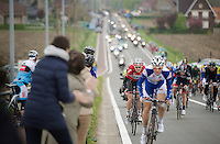 early in the race: Pim Ligthart (NLD/Lotto-Belisol) speeding up a bridge (behind a Topsport Vlaanderen rider) in the hopes of getting into an early breakaway<br /> <br /> Ronde van Vlaanderen 2014