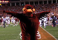 CHARLOTTESVILLE, VA- NOVEMBER 12: Virginia Tech Hokie mascot signals to the crowd during the game against the Virginia Cavaliers on November 28, 2011 at Scott Stadium in Charlottesville, Virginia. Virginia Tech defeated Virginia 38-0. (Photo by Andrew Shurtleff/Getty Images) *** Local Caption ***