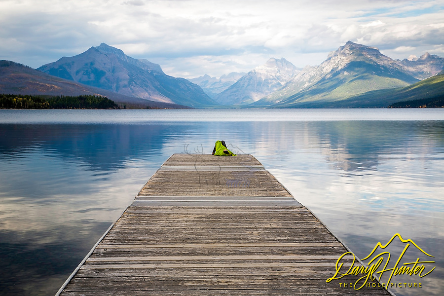 Sleeping on the dock of the bay.  Boat dock Lake McDonald, Glacier National Park
