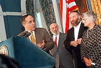 IN ADVANCE FOR 20TH ANNIVERSARY OF CROWN HEIGHTS RIOTS IN BROOKLYN, NY ON AUGUST 19, 1991. Mayor Giuliani apologizes to the Rosenbaum family on  April 2, 1998 for the death of Yankel Rosenbaum. Yankel Rosenbaum, an Orthodox Jew, was killed ten years ago by blacks rioting in Crown Heights. Many considered the city responsible for his death and the rioting because of perceived inaction by the police. (© Richard B. Levine)