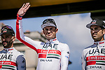 Aexander Kristoff (NOR) UAE Team Emirates at the team presentations in Compiegne before Paris-Roubaix 2019, Compuiegne, France. 13th April 2019<br /> Picture: ASO/Pauline Ballet | Cyclefile<br /> All photos usage must carry mandatory copyright credit (&copy; Cyclefile | ASO/Pauline Ballet)