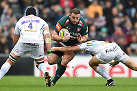 Greg Bateman of Leicester Tigers takes on the Exeter Chiefs defence. Aviva Premiership match, between Leicester Tigers and Exeter Chiefs on September 30, 2017 at Welford Road in Leicester, England. Photo by: Patrick Khachfe / JMP