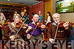 L-R Maida McQuinn Sugrue, originally Ballymac and living in Chicago for the past 67 yrs joins Martin O'Connor, Castleisland road, Scartaglin with Paddy Jones, Cordal for the Launch of the Paddy O'Keeffe annual traditional Irish music Festival last Friday night in the RiverIsland hotel in Castleisland.