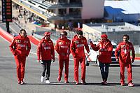 31st October 2019; Circuit of the Americas, Austin, Texas, United States of America; F1 United States Grand Prix, team arrival day; Scuderia Ferrari, Sebastian Vettel walks the circuit with his team  - Editorial Use