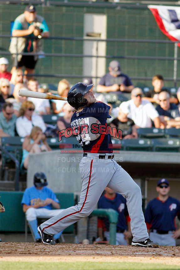 Potomac Nationals catcher/designated hitter Spencer Kieboom (24) at bat during a game against the Myrtle Beach Pelicans at Ticketreturn.com Field at Pelicans Ballpark on May 24, 2015 in Myrtle Beach, South Carolina.  Potomac defeated Myrtle Beach 1-0. (Robert Gurganus/Four Seam Images)