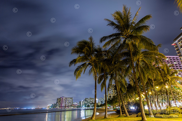 A grove of palm trees at Kuhi'o Beach (a.k.a. The Ponds), surrounded by hotels with their lights reflected in the ocean, Waikiki, O'ahu.