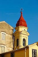 Church Spire Of a Greek Orthodox Church, Corfu Old Town, Greek Ionian Islands