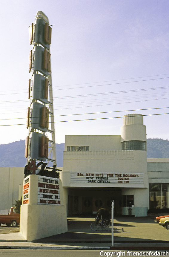 Movie Theatre: Ukiah Theatre, c. 1935. Sign & building behind. Photo '83.