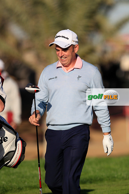Paul McGinley (IRL) walks off the 14th tee during Friday's Round 2 of the Abu Dhabi HSBC Golf Championship at Abu Dhabi Golf Club, 18th January 2013 (Photo Eoin Clarke/www.golffile.ie)