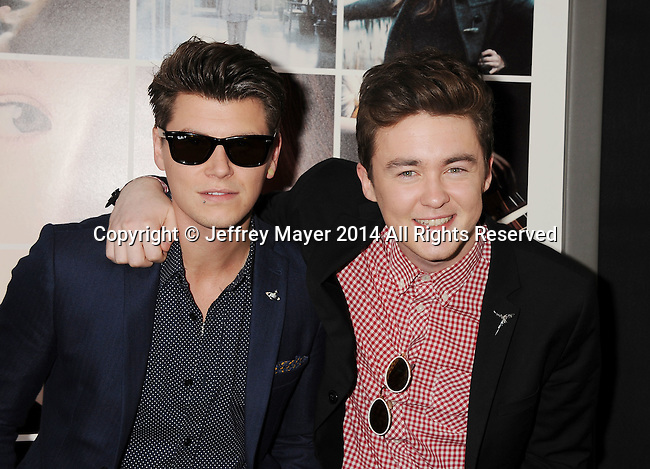 xHOLLYWOOD, CA- AUGUST 20: Musicians Charley Bagnall (L) and Jake Roche of Rixton arrive at the Los Angeles premiere of 'If I Stay' at TCL Chinese Theatre on August 20, 2014 in Hollywood, California.