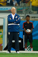 Brazil head coach Luiz Felipe Scolari looks dejected