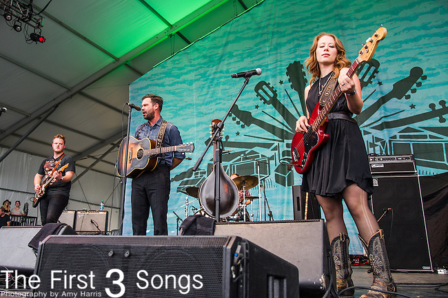 Zach Williams, Kanene Donehey Pipkin, and Brian Elmquist of The Lone Bellow performs during the 2015 Pilgrimage Music & Cultural Festival in Franklin, Tennessee.