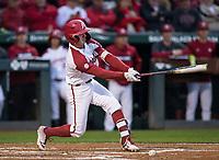 NWA Democrat-Gazette/BEN GOFF @NWABENGOFF<br /> Casey Martin, Arkansas shortstop, hits a single in the 3rd ining vs LSU Thursday, May 9, 2019, at Baum-Walker Stadium in Fayetteville.