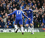 Chelsea's Pedro celebrates scoring his sides second goal with Oscar<br /> <br /> Barclays Premier League- Chelsea vs Sunderland - Stamford Bridge - England - 19th December 2015 - Picture David Klein/Sportimage