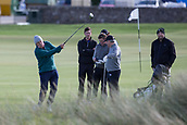 2nd October 2017, The Old Course, St Andrews, Scotland; Alfred Dunhill Links Championship golf practice round; Dermot Desmond, largest individual shareholder in Celtic FC tees off on the second hole on the Old Course, St Andrews during a.practice round before the Alfred Dunhill Links Championship