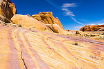 Colorful petrified sand dunes create the unique landscape of Valley of Fire state park in Southern Nevada about 2 hours outside of Las Vegas.