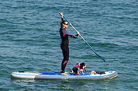 Pictured: A lady with her dog on a paddle board during the sunny weather at Mumbles, near Swansea, Wales, UK. Thursday 19 September 2019