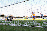 Scott Shearer of Mansfield Town (1) cannot stop Michael Harriman of Wycombe Wanderers socring (not shown) during the Sky Bet League 2 match between Wycombe Wanderers and Mansfield Town at Adams Park, High Wycombe, England on 25 March 2016. Photo by David Horn.