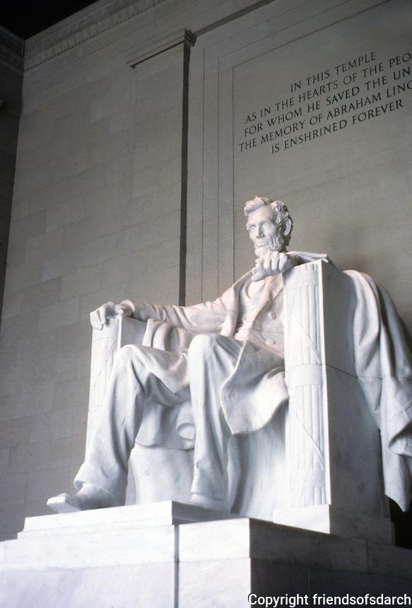 Washington D.C. : Lincoln Memorial--a seated Lincoln. Photo '85.