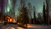 Log cabin in boreal forest in Fairbanks, Alaska.