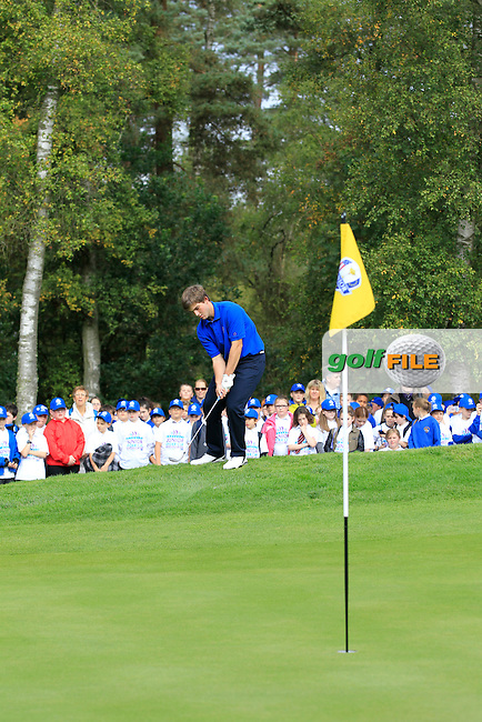 Bradley Neil (SCO) on the 16th during Day 2 Singles for the Junior Ryder Cup 2014 at Blairgowrie Golf Club on Tuesday 23rd September 2014.<br /> Picture:  Thos Caffrey / www.golffile.ie