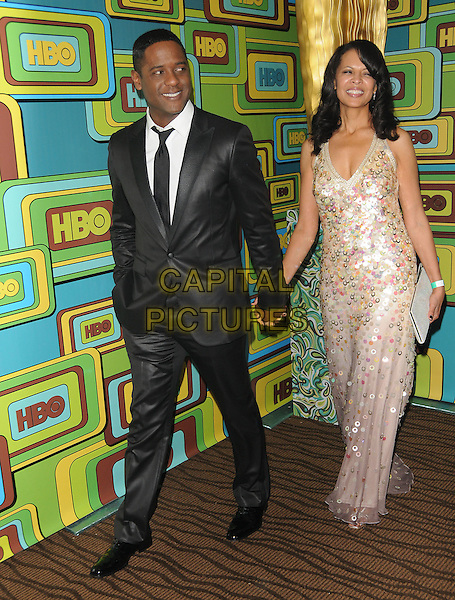BLAIR UNDERWOOD & DESIREE DaCOSTA.The HBO's Post Golden Globes Party held at The Beverly Hilton Hotel in Beverly Hills, California, USA..January 16th, 2011.full length black grey gray suit silver pink dress holding hands married husband wife .CAP/RKE/DVS.©DVS/RockinExposures/Capital Pictures.
