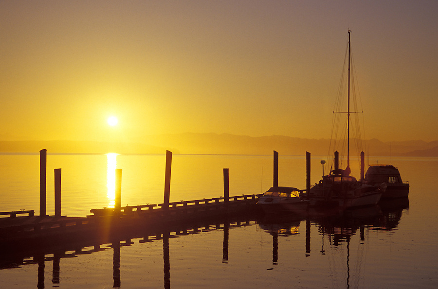 Sunrise over Coupeville Wharf, Ebey's Landing National Historic Reserve, Coupeville, Whidbey Island, Washington
