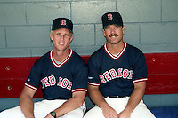 Boston Red Sox minor league coaches Butch Hobson and Gary Allenson circa 1989 at Chain of Lakes Park in Winter Haven, Florida.  (MJA/Four Seam Images)