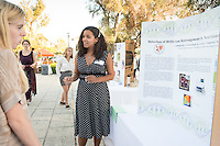Occidental College student Chelsea Blankenchip '17 shares her InternLA experience working at Response Genetics during the Career Development Center's Reverse Career Fair, Thorne Hall patio, Sept. 3, 2015.<br /> (Photo by Marc Campos, Occidental College Photographer)