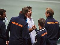02-02-14,Czech Republic, Ostrava, Cez Arena, Davis Cup Czech Republic vs Netherlands, Igor Sijsling(NED) is being congratulated bij his team members<br /> <br /> Photo: Henk Koster