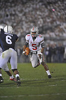 27 October 2012:  Ohio State QB Braxton Miller (5) runs upfield. The Ohio State Buckeyes defeated the Penn State Nittany Lions 35-23 at Beaver Stadium in State College, PA.