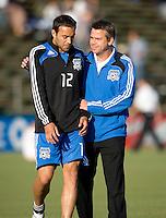22 May 2008:  Earthquakes' technical advisor Ronnie Ekelund talks with Ramiro Corrales of the Earthquakes before the game against the Dynamo at Buck Shaw Stadium in San Jose, California.   San Jose Earthquakes defeated Houston Dynamo, 2-1.