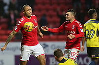 Josh MaGennis punches the ball in the air to celebrate scoring Charlton Athletic's second goal during Charlton Athletic vs Oxford United, Sky Bet EFL League 1 Football at The Valley on 3rd February 2018