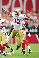 Sept. 13, 2009; Glendale, AZ, USA; San Francisco 49ers linebacker Manny Lawson against the Arizona Cardinals at University of Phoenix Stadium. San Francisco defeated Arizona 20-16. Mandatory Credit: Mark J. Rebilas-