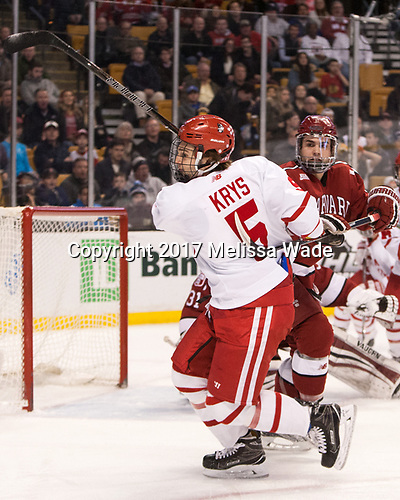 Chad Krys (BU - 5), Clay Anderson (Harvard - 5) - The Harvard University Crimson defeated the Boston University Terriers 6-3 (EN) to win the 2017 Beanpot on Monday, February 13, 2017, at TD Garden in Boston, Massachusetts.