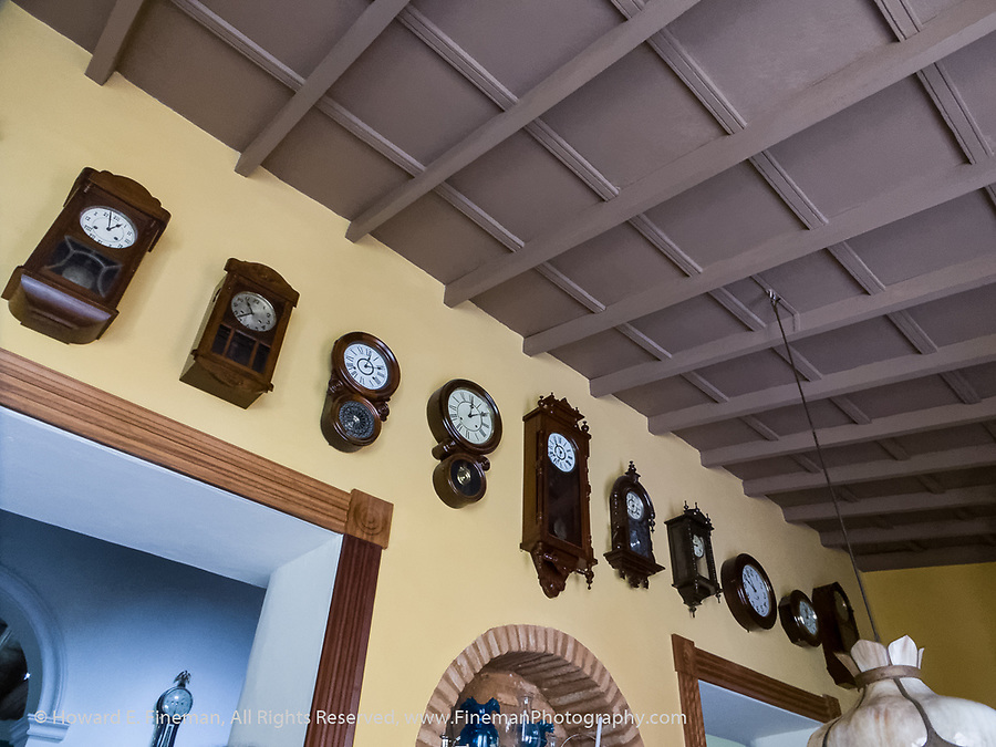Antique clock collection in restored home