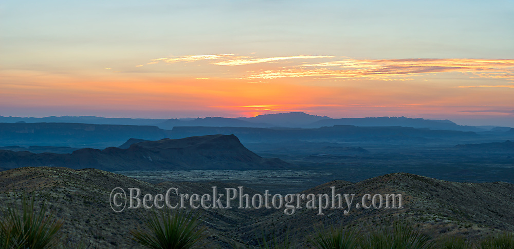 Sunset over Big Bend Landscape Pano - The last capture of this texas landscape as the sunset goes behind the mountains but lighting up the sky with great color in Big Bend National Park in west Texas.  We loved all the colors in the sky with the pinks, orange, yellows along with the blue hour light as it danced over the valley and mountains in the distant view as the day turns to night over this majestic mountains  in the far west texas.  You can see see the santa Elena canyon and beyond into Mexico mountains from this desert location in the park. This texascape show that you can see for a long way actually this is probably a good 35 miles by road from the Santa Elena Canyons  even farther for the Mexico mountains.